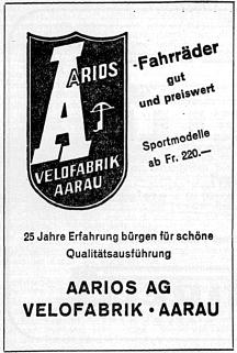 Aarios Werbung 1953 aus der NZZ