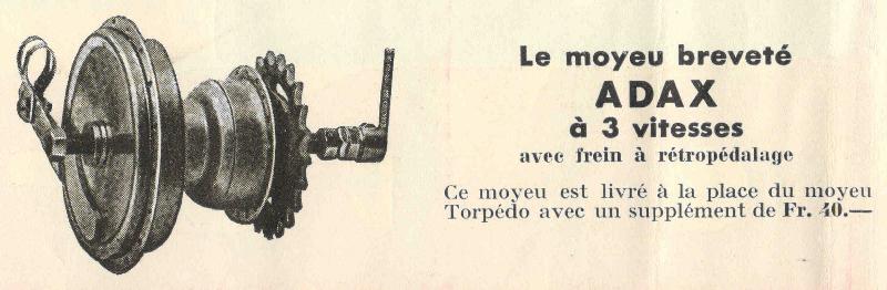 Adax-Reklame aus einem Veloprospekt der 40er Jahre